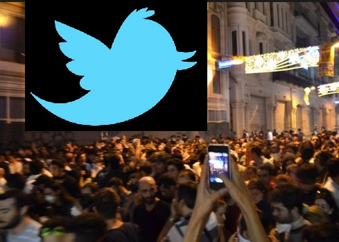 Image of Protesters and a Twitter logo