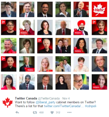 The Canadian Cabinet's first day on Twitter
