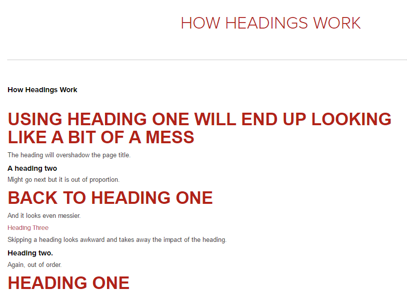 Examples of messy heading usage