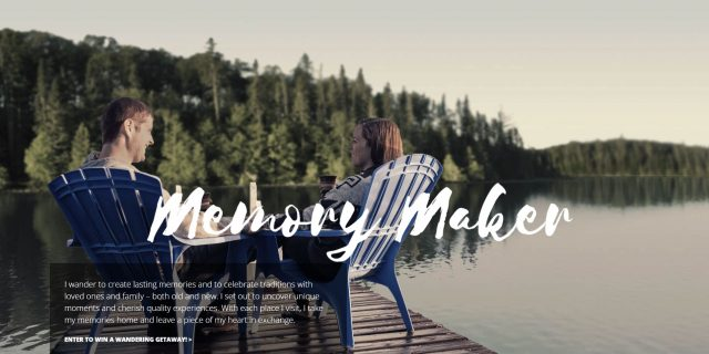 Memory maker page for the Come Wander website